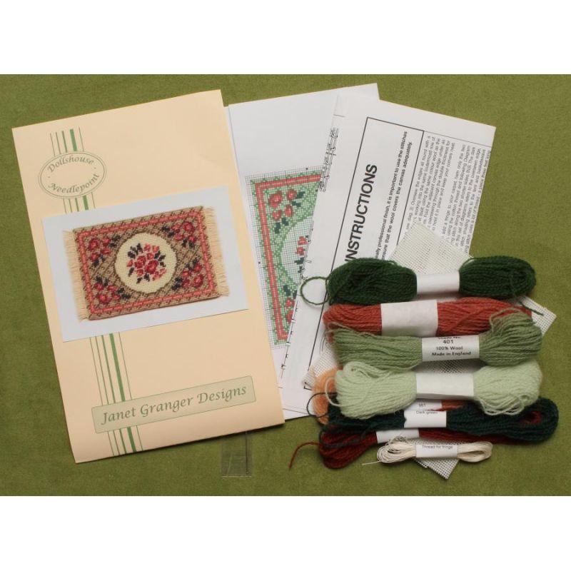 Barbara Small Green Dollhouse Needlepoint Carpet Kit