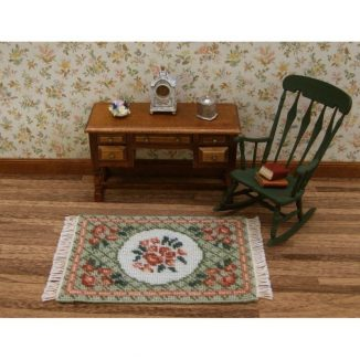 Dollhouse needlepoint carpet rug Barbara green small living room furniture
