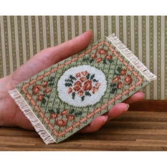 Dollhouse needlepoint carpet rug Barbara green small tent stitch fringe