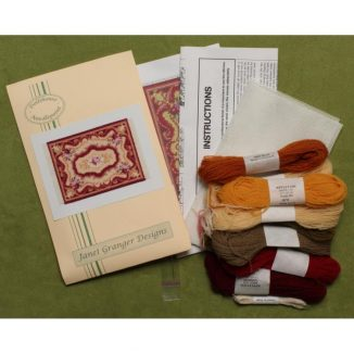 Dollhouse needlepoint carpet rug Sarah kit contents