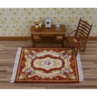 Dollhouse needlepoint carpet rug Sarah living room furniture