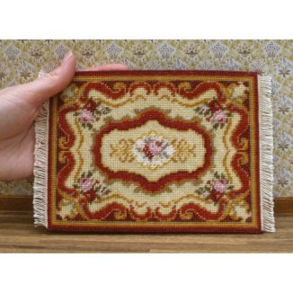 Dollhouse needlepoint carpet rug Sarah tent stitch fringe