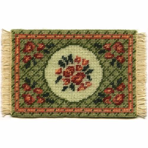 Barbara small (green) dollhouse needlepoint carpet