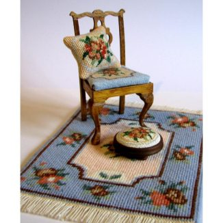 Alice blue foot stool kit dollhouse miniature needlepoint accessories petit point embroidery