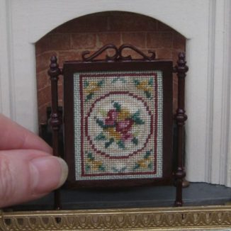 Alice green dollhouse petit point needlepoint embroidery fire screen furniture kit