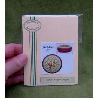 Barbara green dollhouse miniature needlepoint accessories petit point embroidery