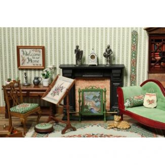 Country cottage dollhouse petit point needlepoint embroidery fire screen furniture kit