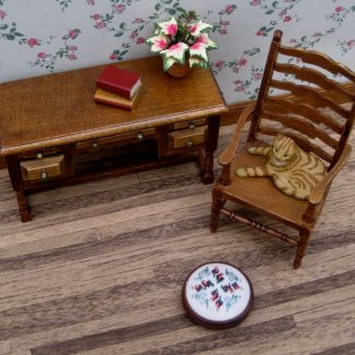 Bella dollhouse miniature needlepoint footstool accessories petit point embroidery