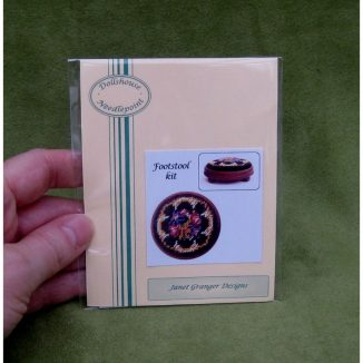 Berlin woolwork foot stool kit dollhouse miniature needlepoint accessories petit point embroidery