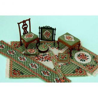 Dollhouse needlepoint Barbara green collection of kits