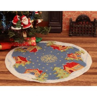Dollhouse needlepoint Christmas tree mat skirt Snowy village near tree