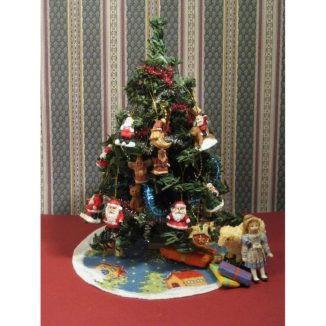 Dollhouse needlepoint Christmas tree mat skirt Snowy village with toys and presents