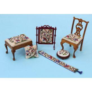 Dollhouse needlepoint Tree of Life matching kits