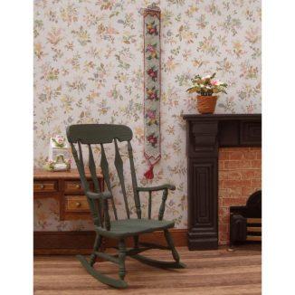 Dollhouse needlepoint bellpull Alice green living room