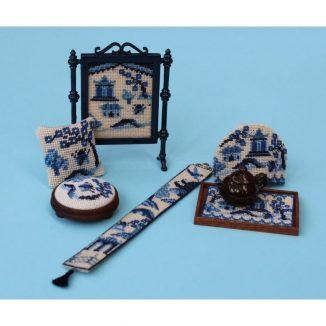 Dollhouse needlepoint bellpull Willow pattern matching kits