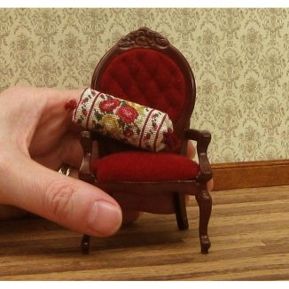 Dollhouse needlepoint bolster pillow cushion Summer roses with hand for scale