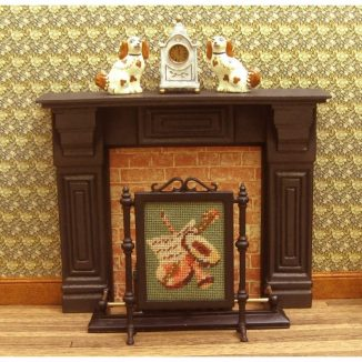 Dollhouse needlepoint firescreen Music living room fireplace