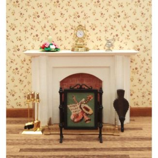Dollhouse needlepoint firescreen Music white dining room fireplace