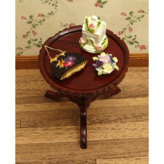 Dollhouse needlepoint handbag purse Berlin woolwork accessories table