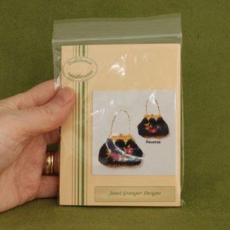 Dollhouse needlepoint handbag purse Berlin woolwork in hand