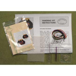 Dollhouse needlepoint handbag purse Berlin woolwork kit contents