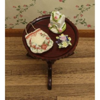 Dollhouse needlepoint handbag purse Rose reticule accessories on table