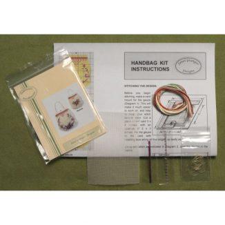 Dollhouse needlepoint handbag purse Rose reticule kit contents