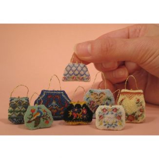 Dollhouse needlepoint handbag purse collection