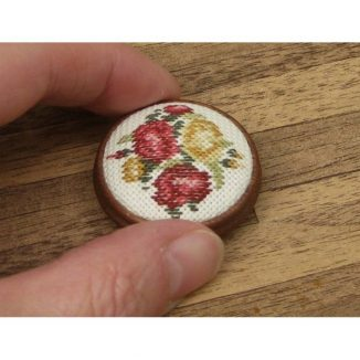 Dollhouse needlepoint round footstool Summer roses held for scale