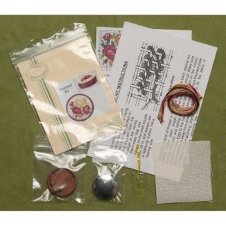 Dollhouse needlepoint round footstool Summer roses kit contents