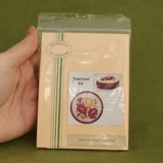 Dollhouse needlepoint round footstool Summer roses kit pack