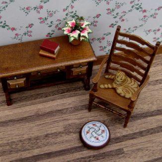Eleanor dollhouse miniature needlepoint footstool accessories petit point embroidery