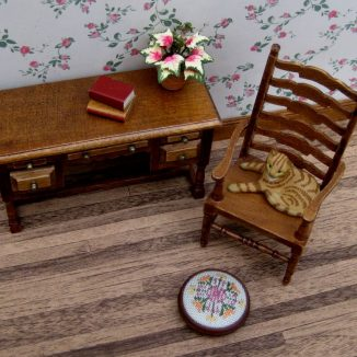 Elizabeth dollhouse miniature needlepoint footstool accessories petit point embroidery