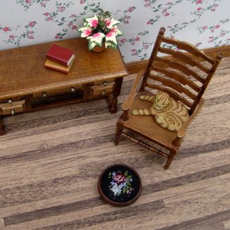 Jessica foot stool dollhouse miniature needlepoint accessories petit point embroidery