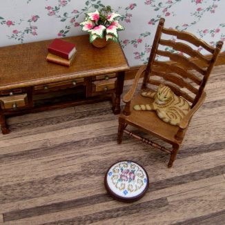 Judith foot stool dollhouse miniature needlepoint accessories petit point embroidery