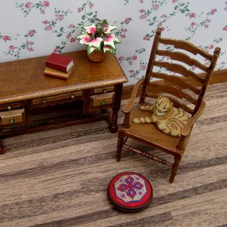 Katrina foot stool dollhouse miniature needlepoint accessories petit point embroidery