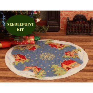 Christmas tree mat skirt dollhouse needlepoint embroidery kit