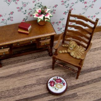Summer roses foot stool dollhouse miniature needlepoint accessories petit point embroidery