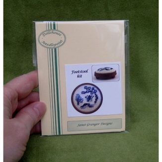 Willow pattern foot stool kit dollhouse miniature needlepoint accessories petit point embroidery