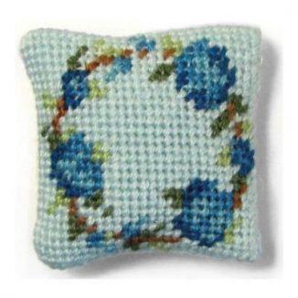 Flower Ring (blue) dollhouse needlepoint cushion kit