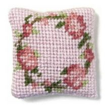 Flower Ring (pink) dollhouse needlepoint cushion kit