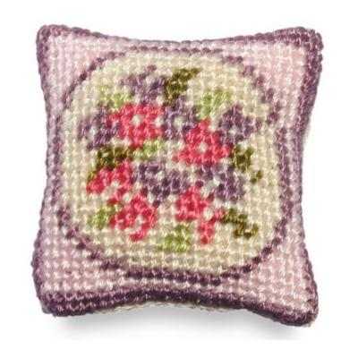 Lilian (pink) dollhouse needlepoint cushion kit