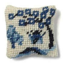Willow Pattern dollhouse needlepoint cushion kit