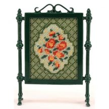 Barbara (green) dollhouse needlepoint firescreen kit