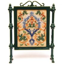 Flowers & Vine (peach) dollhouse needlepoint firescreen kit