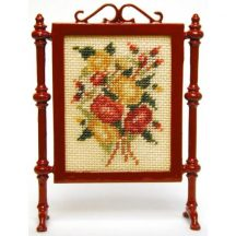 Summer Roses dollhouse needlepoint firescreen kit
