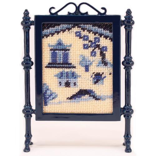 Willow Pattern dollhouse needlepoint firescreen kit