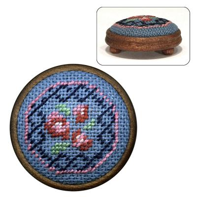 Dollhouse Needlepoint Footstool Kit Barbara Blue