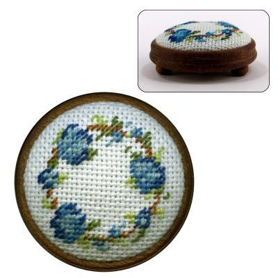 Dollhouse needlepoint footstool kit Flower Ring (blue)