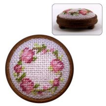 Dollhouse needlepoint footstool kit Flower Ring (pink)